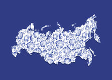 Russia Map Gzhel painting. Traditional Russian pattern.  Royalty Free Stock Photo