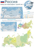 Russia maps with markers (Russian text version). Set of the political Russia maps, markers and symbols for infographic Stock Photography