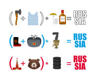 Russia mathematician. Mathematical Formula of Russian life. Trad. Itional objects of country. Axe and vest. Moscow Kremlin and  bear. Wooden spoon and Ushanka Royalty Free Stock Photo