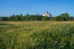 Russia. Meadows with views of the Cathedral of the Resurrection Royalty Free Stock Photos