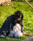 Russia, Merzhanovo, May 21, 2018: Photo session of fantasy cosplay two beautiful girls in nature Stock Photos