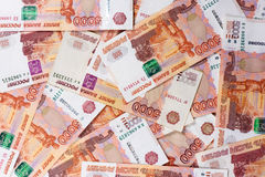 Russia money background. Heap of rubbles Royalty Free Stock Photos
