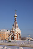 Russia Mordovia republic Chapel in Saransk. Chapel near St. Theodor Ushakov cathedral in Saransk during the winter. Russia Royalty Free Stock Image