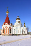 Russia Mordovia republic Chapel in Saransk. Russia. Republic Mordovia. St. Theodor Ushakov cathedral during winter Royalty Free Stock Photo