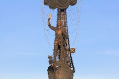 RUSSIA, MOSCOW – JANUARY 23, 2019: The figure of Peter the Great, part of the monument to Peter the Great by Zurab Tsereteli stock image