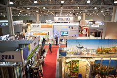 RUSSIA, MOSCOW - APRIL, 04, 2019 Crocus Expo exhibition of building and finishing materials stock image