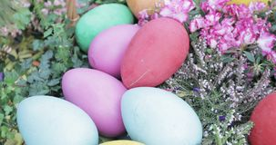 Easter eggs in the park. Russia, Moscow - April 25, 2019: Decorative eggs and Easter figures for festive decoration. Charitable festival Easter gift in Moscow in stock video