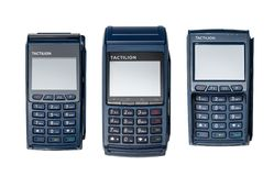 Modern blue payment terminals stock photos