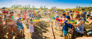 Free Russia. Moscow. August 11, 2018 Children Playing Outdoors With Water Cannons On A Beautiful Sunny Day Royalty Free Stock Photography - 123744677