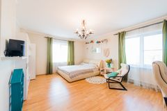 Russia, Moscow- August 05, 2019: interior room apartment modern bright cozy atmosphere. general cleaning, home decoration,