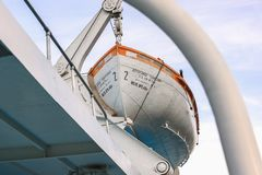 Russia, Moscow August 2018: lifeboat on the upper deck of the ship.  stock photos