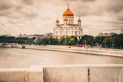 RUSSIA, MOSCOW, 26 AUGUST 2017: Russian orthodox church Cathedral of Christ the Savior towering over Moscow`s skyline. Russian orthodox church dominating the Stock Photography