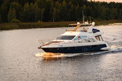 Russia, Moscow August 2018: small high-speed boat sails on the river. Channel of Moscow stock photography