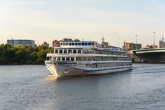 Russia, Moscow August 2018: small river tourist boat on the river. Channel named after Moscow stock images