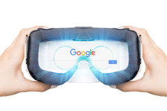 Russia, Moscow - August 24: 2016 Women searches in Google. In virtual reality with the assistance of eyeglasses. Augmented reality, VR vector illustration