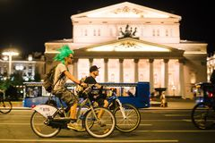 Moscow Night Bicycle Parade panorama royalty free stock images