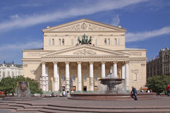 Russia, Moscow. Bolshoi Theatre. The Bolshoi Theatre -Big Theatre is a historic theatre in Moscow, Russia, designed by architect Joseph Bové, which holds Royalty Free Stock Image