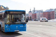 Russia, Moscow:  City bus on Lubyanka Square Stock Photos