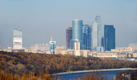 Russia. Moscow-city. A kind from the Viewing point. Russia. Building of Moscow-city. A kind from the Viewing point of mountains Vorobevyh. An autumn landscape Royalty Free Stock Images