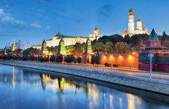 Russia - Moscow city at night with Kremlin stock images