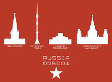 Russia Moscow city shape silhouette icon set -Red Stock Image