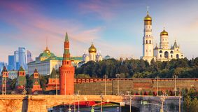 Russia, Moscow city skyline at sunset stock photography