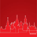 Russia Moscow Concept for web banner. One line composition with greatest landmarks. White linear icon on red background. vector illustration