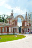 Russia  Moscow  Ensemble Tsaritsyno  Gallery-fence with a gate  Architect Bazhenov  1784-1785 Royalty Free Stock Image