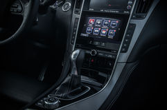 RUSSIA, MOSCOW - FEBRUARY 26, 2017. INFINITI Q50 S sedan car, interior view Royalty Free Stock Photography