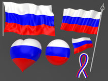 Russia, Moscow flag national symbolic. 3D royalty free illustration