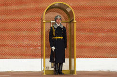 RUSSIA, MOSCOW, HONOR GUARD. RUSSIA, MOSCOW - MARCH 22 -2016: Guard of Honour at the tomb of the Unknown Soldier at the wall of Moscow Kremlin in Moscow, Russia royalty free stock images