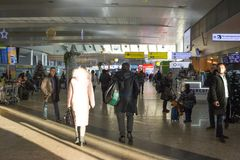 Russia, Moscow, Interiors of Sheremetyevo Airport. Russia, Moscow, 12.01.2018: Interiors of Sheremetyevo Airport. In the halls of the airport are crowded stock images