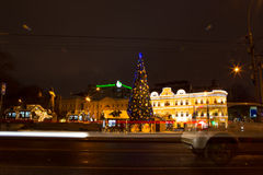 Russia, Moscow, Jan. 7, 2016 - Christmas night city streets, fes Royalty Free Stock Images