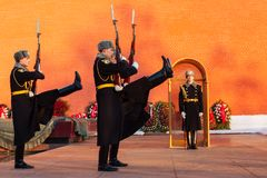Russia, Moscow - January 03,2011: Guard of Honour at the tomb of the Unknown Soldier at the wall of Moscow Kremlin. Royalty Free Stock Photos