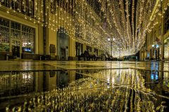 Russia, Moscow, 06, January, 2018: New Year and Christmas decorations in Moscow. Light decoration on Nikolskaya street royalty free stock photography