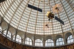 Openwork design of a dome made of glass and metal. Russia, Moscow - 11 July 2018. Exhibition of Achievements of the National Economy. Pavilion Astronautics and stock photography