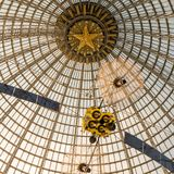Openwork design of a dome made of glass and metal. Russia, Moscow - 11 July 2018. Exhibition of Achievements of the National Economy. Pavilion Astronautics and royalty free stock image