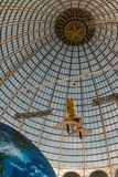 Openwork design of a dome made of glass and metal. stock image