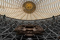 Openwork design of a dome made of glass and metal. royalty free stock image