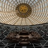 Openwork design of a dome made of glass and metal. stock photo
