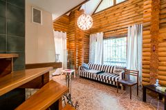 Russia, Moscow- July 06, 2019: interior room apartment. beautiful designer country house with wooden elements