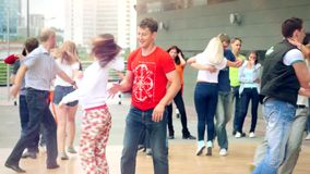 Russia, Moscow, 10 july 2015. Sport, dancing and. Sport, dancing and urban culture concept. Group of teenagers dancing on the street. 4k stock footage