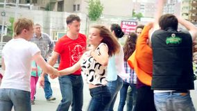 Russia, Moscow, 10 july 2015. Sport, dancing and. Sport, dancing and urban culture concept. Group of teenagers dancing on the street. 4k stock video