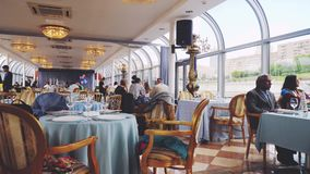 Russia, Moscow 17 june 2017. Beautiful and elegant fine dining restaurant. Cruise ship dining room. Adventure of the stock video footage