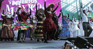 Mexican Carnival Celebration of the dead. RUSSIA, MOSCOW - June 29, 2018: Mexican Carnival Celebration of the dead in the House of Mexico in Gostiny Dvor. The stock video footage