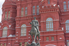 RUSSIA, MOSCOW, JUNE 8, 2017: A monument to the marshal of the Soviet Union Georgy Zhukov in front of the History Museum near the Stock Images