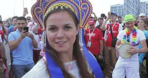 Musicians before the match. Russia, Moscow - June 19, 2018: Musicians before the match. Football fans of Poland, Senegal, Russia before the match Poland stock footage