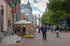 RUSSIA, MOSCOW, JUNE 7, 2017: People walking on Old Arbat street in summer Stock Photography