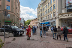 RUSSIA, MOSCOW, JUNE 7, 2017: People walking on Old Arbat street in summer Stock Photos
