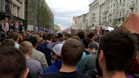 RUSSIA, MOSCOW - JUNE 12, 2017: Rally Against Corruption Organized by Navalny on Tverskaya Street. The crowd chanted: Medvedev to. RUSSIA, MOSCOW - JUNE 12, 2017 stock video